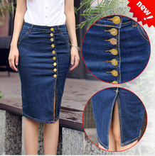 Denim skirt for Women Knee Length Plus Size High Waist Butt Lift Button Front mid thigh no pocket Size 3XL 5XL 12 16 ouc348