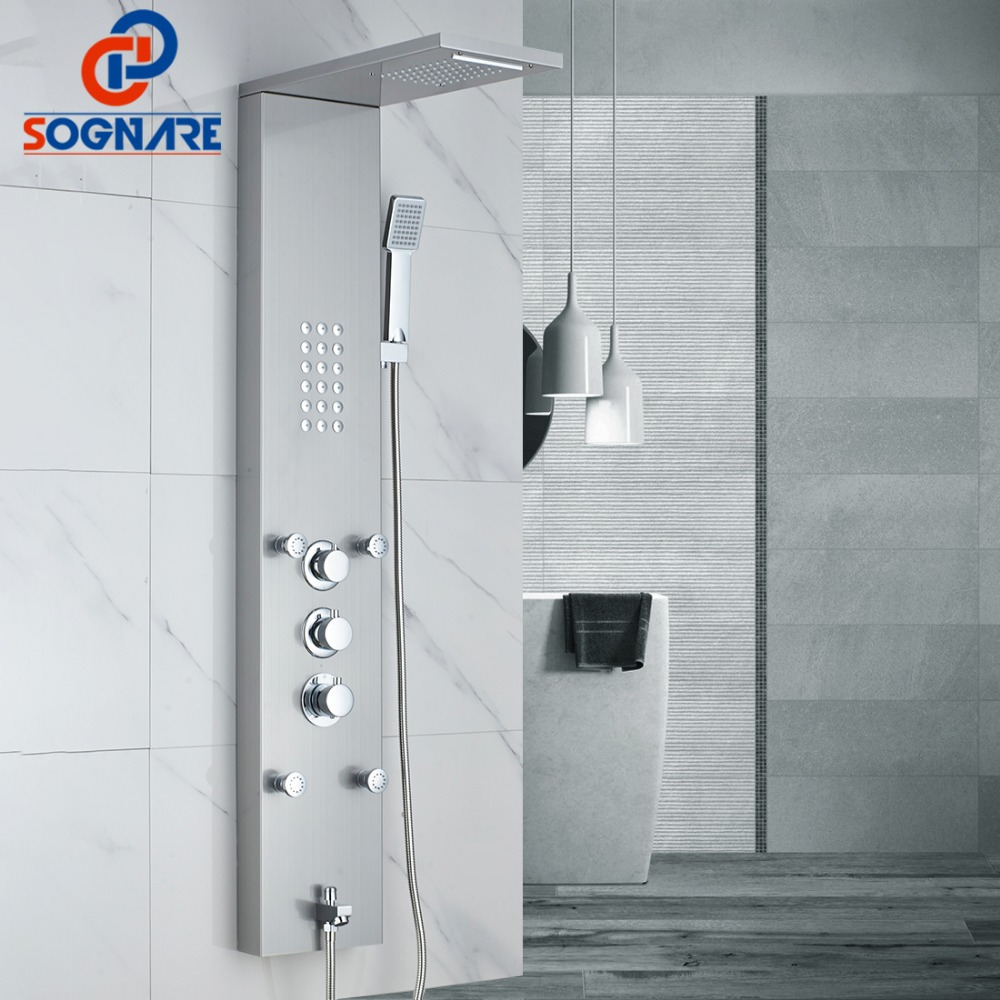 SOGNARE Waterfall Rain Shower Faucets Nickel Brushed,Thermostatic Shower Panel With Hand Shower Tub Spout Tower Shower Column