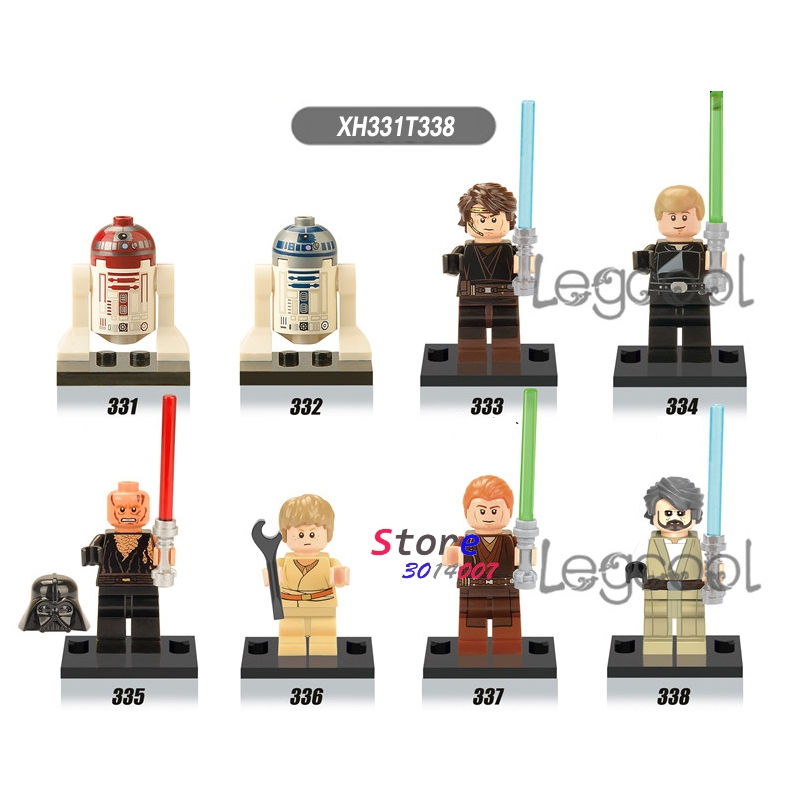 1pcs Model Building Blocks Action Figures Starwars Superhero R4-p17 R2-d2 Luke Skywalker Anakin Skywalker Toys For Children Gift