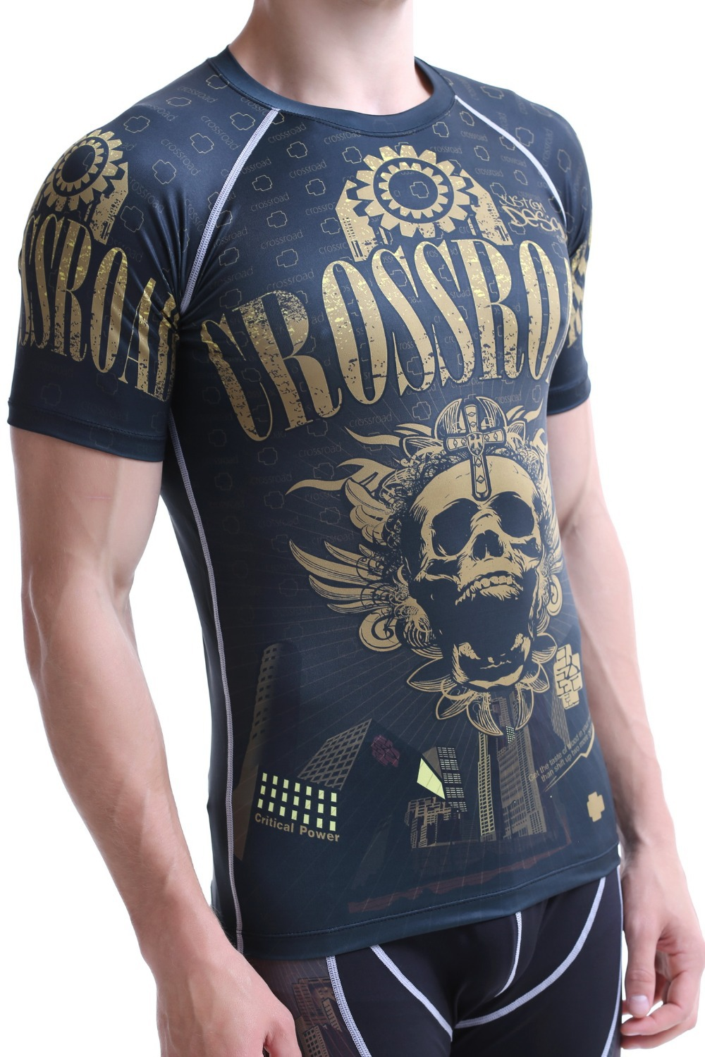 Best Er Men S Workout Clothes Short Sleeved Compression Shirt Full Printing Quick Dry Gym Bodybuilding Running