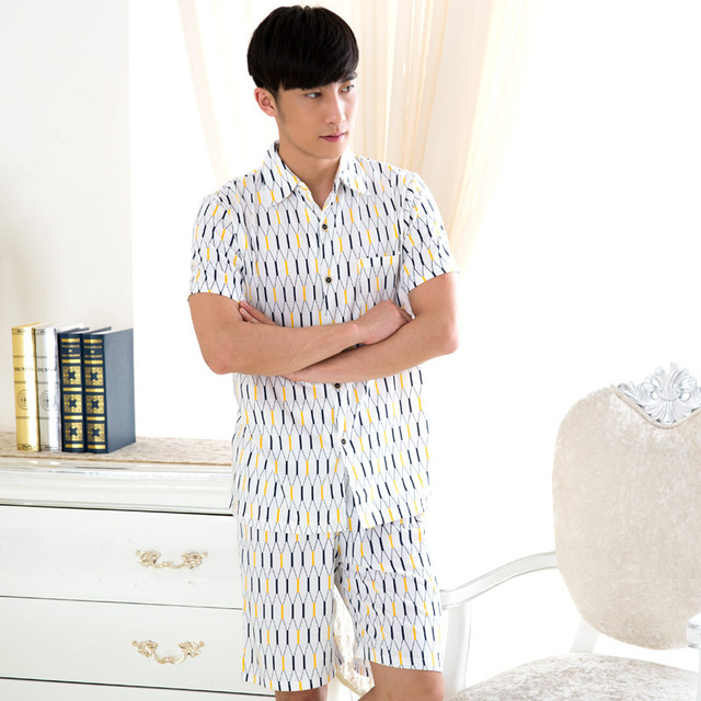 efcc1e4e95 Men s Pajamas summer short Sleeve Sleepwear Cotton Dot Cardigan Pyjamas Men  summer short Pajama Sets Plus sizeL-3XL Sleep 058