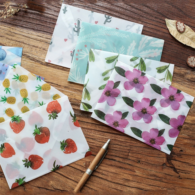 3pcspack flower sulfuric acid paper translucent envelope
