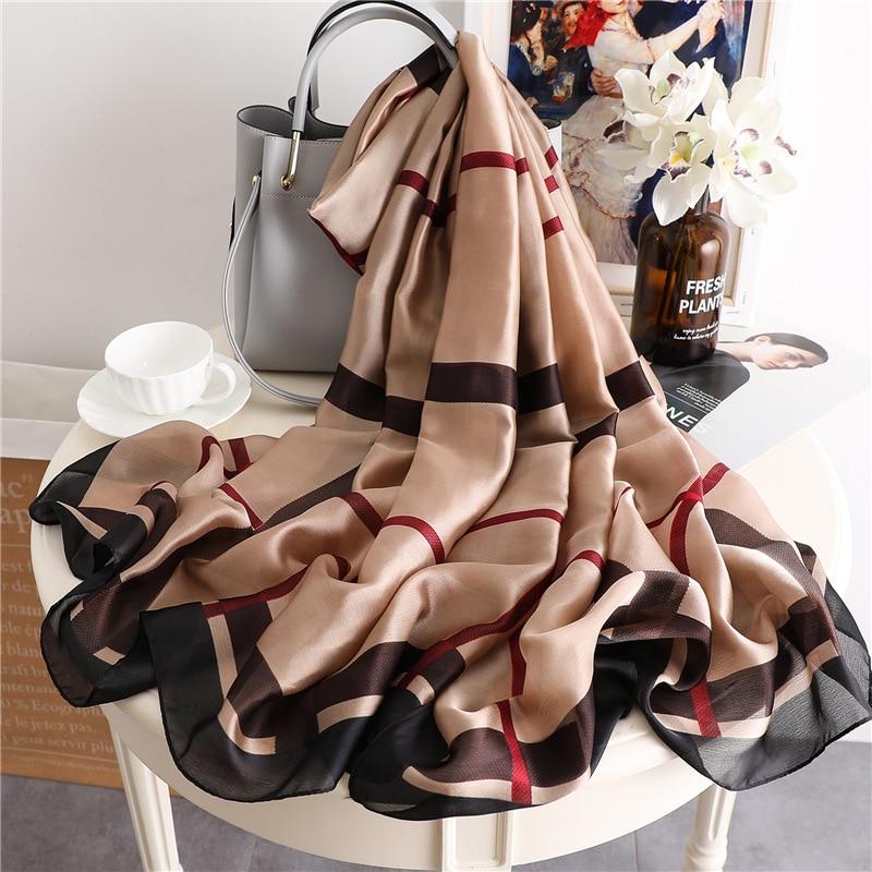 2020 New Solid Plaid Silk Scarf Women Long Neck Scarves Large Pashmina Lady Foulard Bandana Winter Scarf Hijab Shawls And Wraps