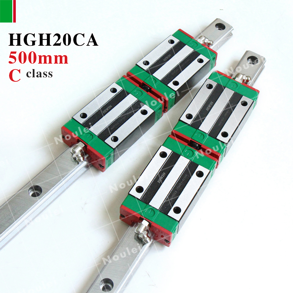 HIWIN HGH20CA linear guides blocks with HGR20 rails 500mm for cnc z axis HGH20 High efficiency 2pcs sbr25 l1500mm linear guides 4pcs sbr25uu linear blocks for cnc