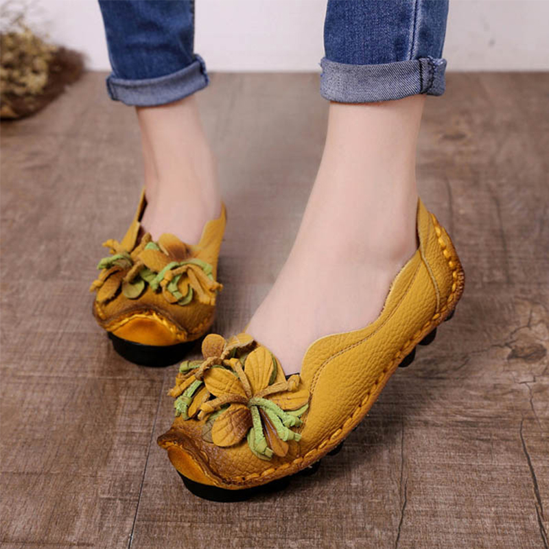 Women Shoes Flower-Loafers Genuine-Leather Casual Talon Zapatos-De-Mujer Femme
