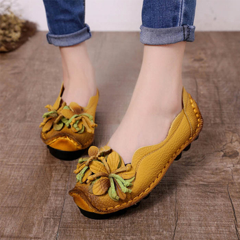 Casual Women Shoes Leather Ladies Flat Shoes Flower Loafers Female Zapatos De Mujer Talon Femme Spring Flats Plus Size 35-43 dqg 2018 spring casual women shoes loafers flats slip on zapatos mujer solid ladies shoes oxfords chaussures femme