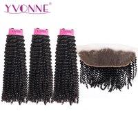 Yvonne бразильский странный вьющиеся волосы человека фронтальной с пучки волос девственницы переплетения 3 Связки с фронтальной 13*4