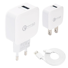 USB Quick Charge 3.0 Battery Charger with USB Cable Micro Type-c QC2.0 3.0 Charging Plug US EU Wall Chargers Adapter for Samsung quick charge 3 0 usb charger travel for iphone samsung micro usb type c fast charging 3 ports eu us plug mobile phone charge