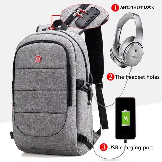 BERAGHINI 2018 秋の新メンズ防水バックパック USB 充電バックパックのためのフィット 15.6 インチラップトップ盗難防止ロック