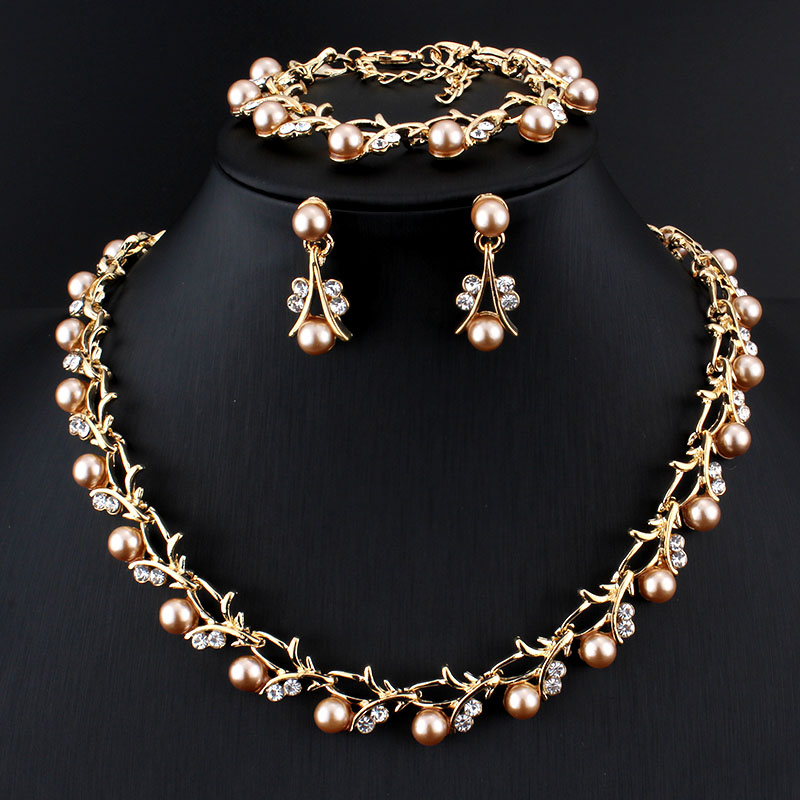 Classic Fashion Peal Jewelry Sets For Women Engagement: Jiayijiaduo Classic Imitation Pearl Necklace Gold-color