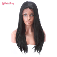 L-email wig 70cm Heat Resistant Long Straight Women Lace Front Wig 28inches Black Blond Dark Brown Synthetic Hair