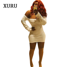XURU2019 spring new womens dress strapless long-sleeved short dresses sexy party mini solid color tight female