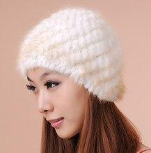 Vrouw Plus Size Winter Streep Stretch Mink Fur Bomber Hoeden Lady Solid Stretch Mink Fur Beschermende Oor Warm Bommenwerper Hoed