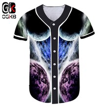 OGKB Baseball Shirt Short Female 3D Short-sleeved Shirt Printed Starry sky Hip Hop Big Size Tops Tees Unisex Summer(China)
