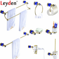 Leyden Gold Finish Brass and Crystal Bathroom Accessories Set Toilet Paper Holder Towel Ring Holder Robe Hook Bath Hardware Set