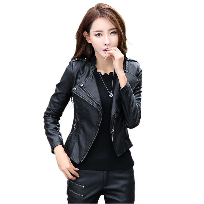 font b Women b font Faux leather font b jackets b font coats Short slim