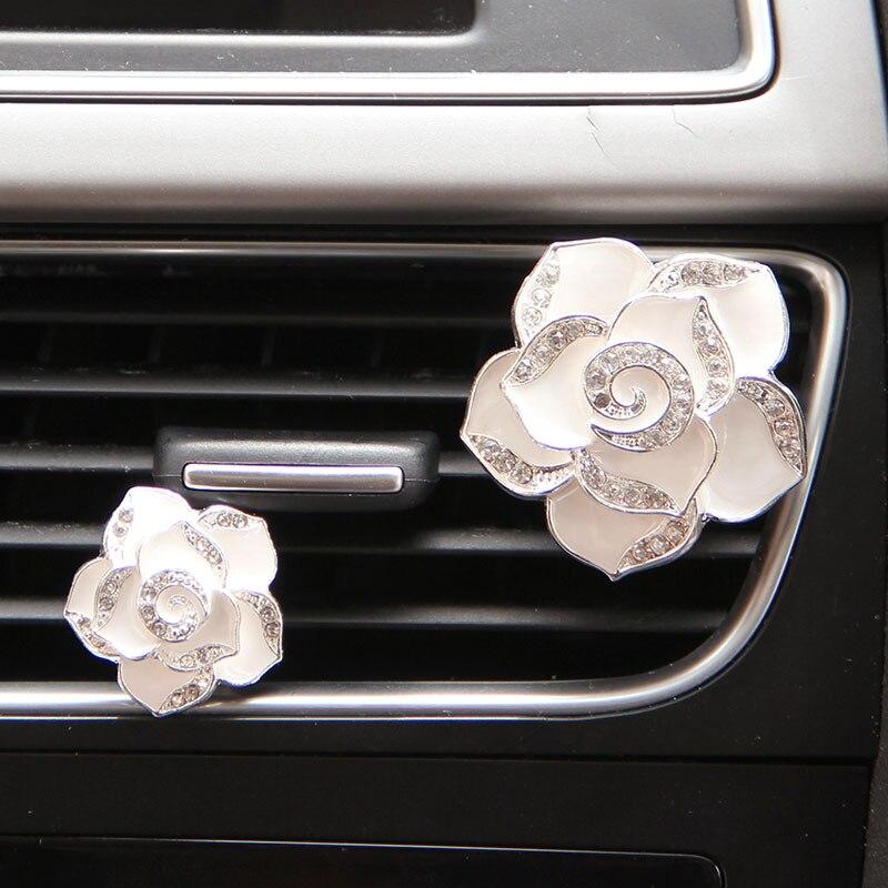 1 шт. автомобильный Цветок Твердый вентиляционный зажим духи Алмазный кондиционер цветы стиль - Название цвета: white
