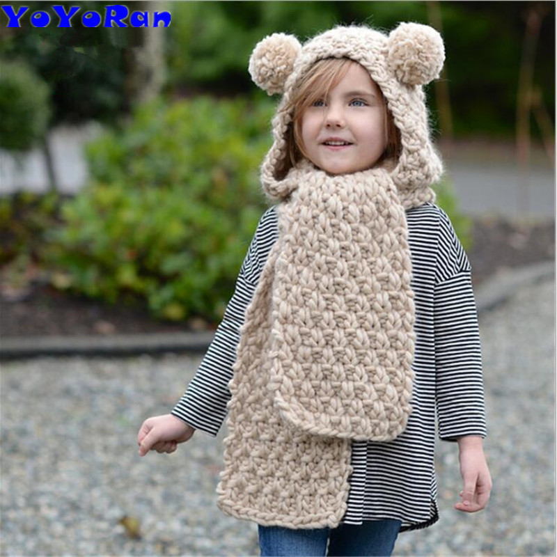 YOYORan cup winter children knitted ball hats with scarf for girl boy hand knitting hat scarf integrated cartoon earmuff cap