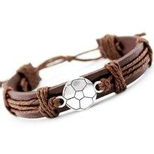 Soccer Football Baseball Softball Volleyball Lacrosse Field Ice Hockey Player Gymnastics Tennis Charm Leather Bracelets Jewelry
