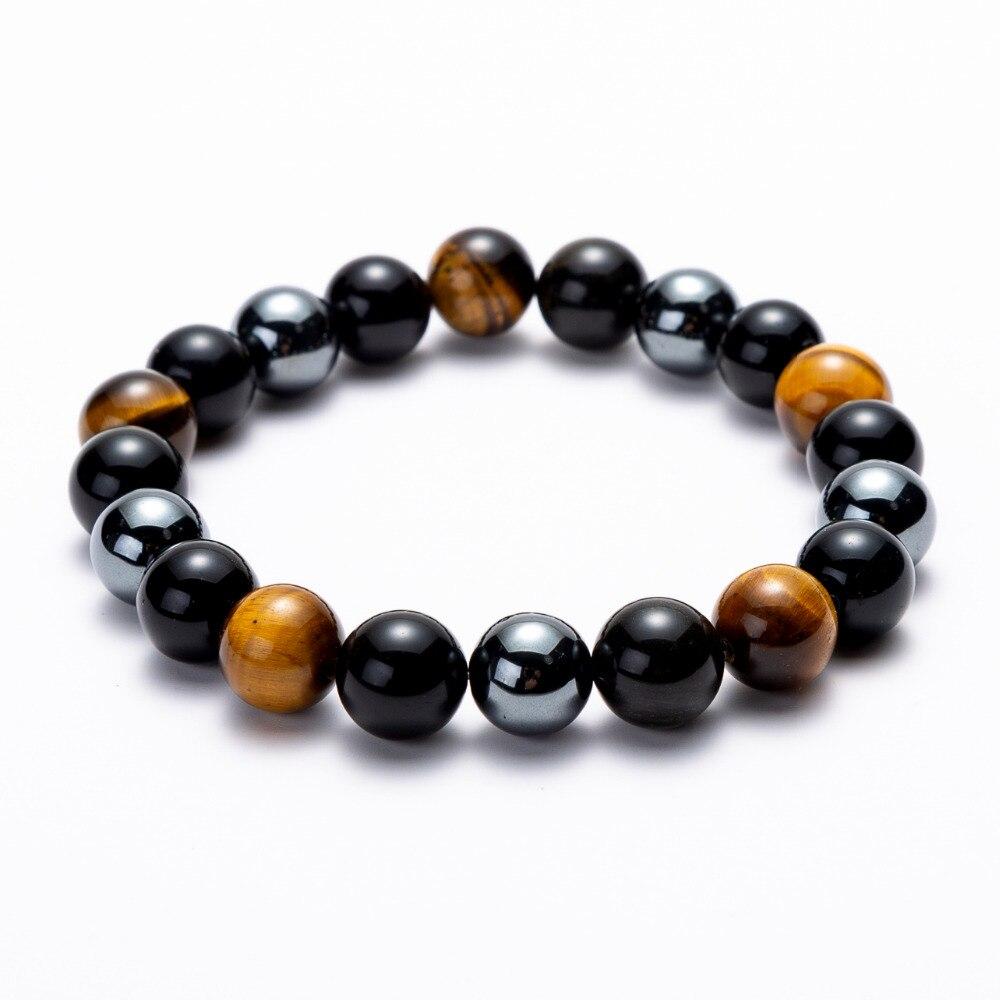 Hematita negro obsidiana Ojo de Tigre piedras hilo con cuentas pulseras tramo energía hombres joyería de las mujeres