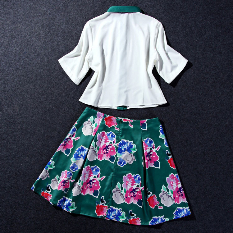 Flower Print Green Skirt White Blouse Suits for Women (5)