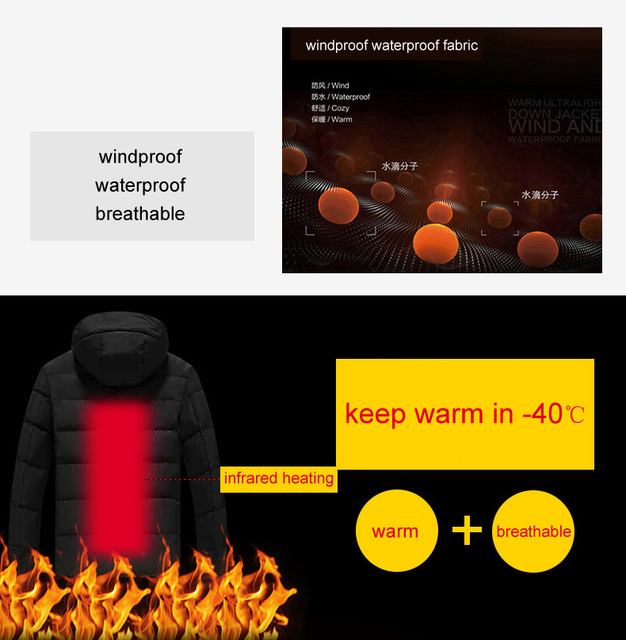 LoClimb L-5XL USB Heated Jacket Men Winter Heating Windbreaker Hiking Thermal Waterproof Jacket Men's Coat Outdoor Jackets AM361 2