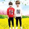 Весна Осень Двух Близнецов Стиль Футболка Брюки Комплект Одежды близнецы Детская Одежда Для Девочек Мальчиков Костюм Устанавливает Детские Sportsuit набор