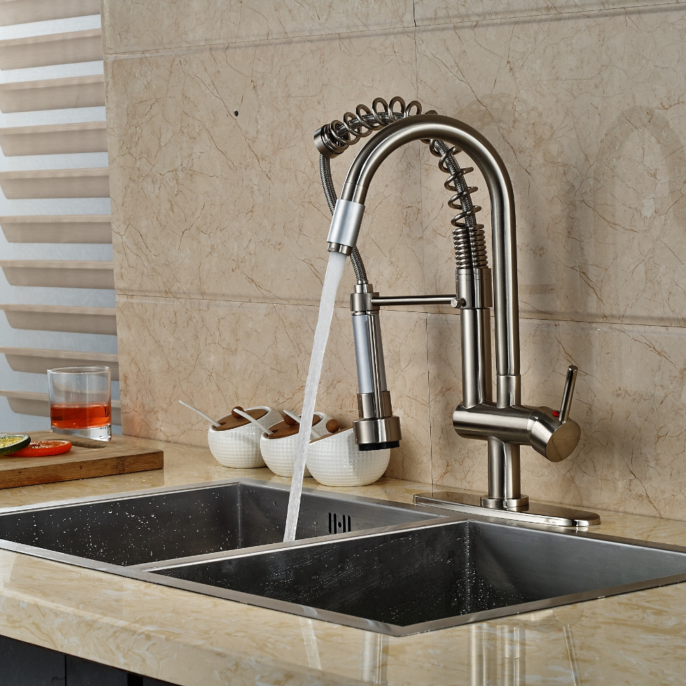 Luxury Nickel Brushed Kitchen Faucet Vessel Sink Mixer Tap 2 Spout W/ 8 Plate golden brass kitchen faucet dual handles vessel sink mixer tap swivel spout w pure water tap