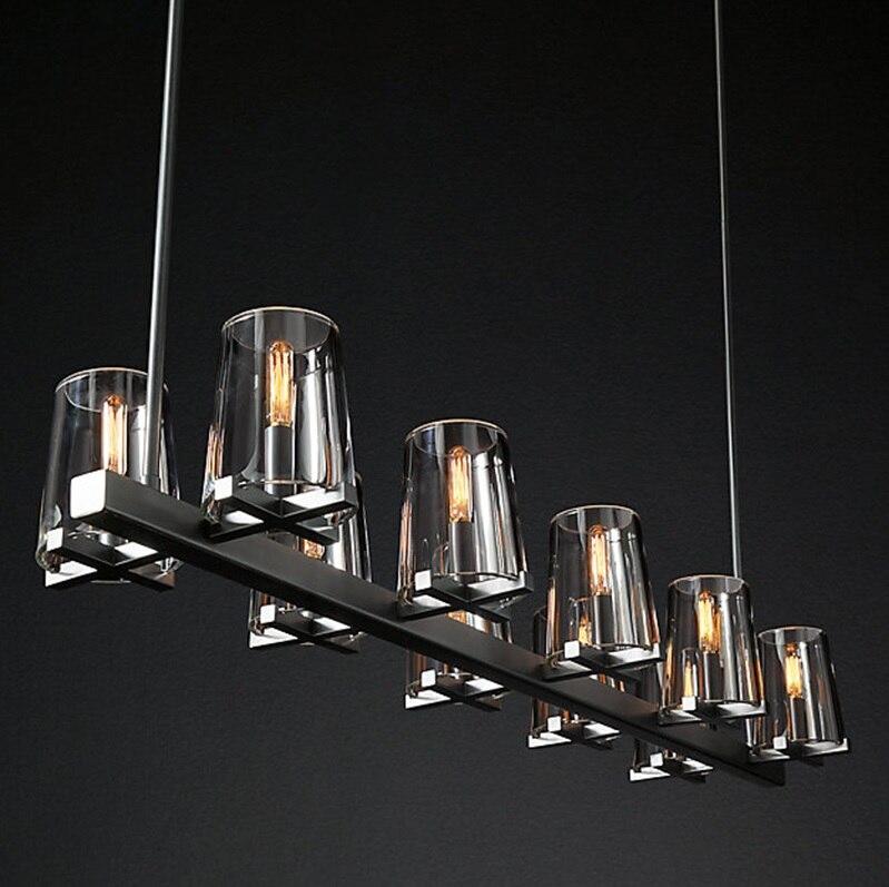 125cm 10 ışıkları uzun Modern tavan lambası/Seattle tasarım pirinç ışıkları Metal/cam gölge|Kolye ışıkları|   -