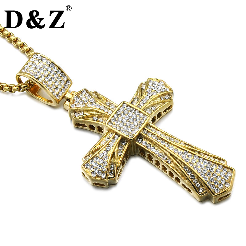 D&Z Hiphop Rhinestone Crystal Cross Pendant & Necklace Gold Color Religious Cross Necklace for Christian Jewelry sunroad digital sport men watch fr820a 3atm waterproof fishing barometer altimeter watch weather forecast clock yellow men watch