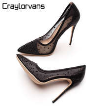 Craylorvans Crystal bling Silver Women Shoes Rhinestone High Heels 2018 Fashion Pointed Toe Women Pumps 12cm Party Wedding shoes