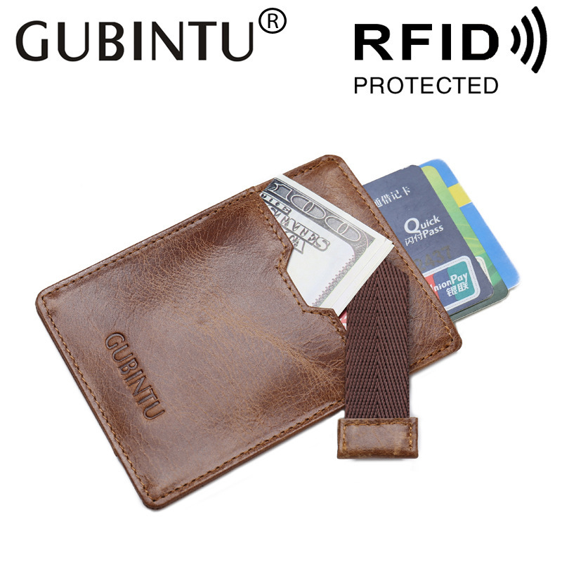GUBINTU Foreign Trade ID Holders Antimagnetic Cowhide RFID Card Package Ultrathin Genuine Leather Brwon Bank Card Sets Wallet