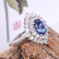 Wholesale Classic 925 Sterling Silver Ring Blue Created Engagement Ring Natural topaz Ring for Women