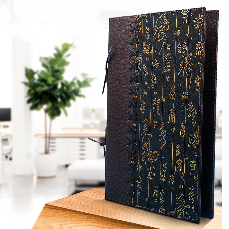 8 Sheets 16 Views Chinese Food Faux Leather Menu Folder