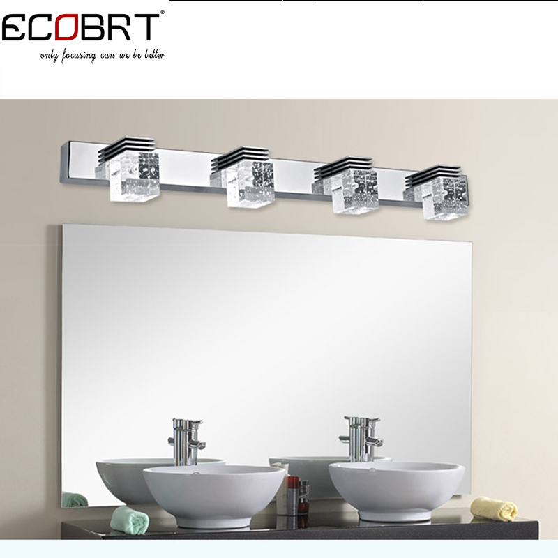 ФОТО Modern style 4-lights 12W LED Sconces Lamps High Power Crystal Bathroom Mirror Lights Stainless Steel Wall Light CE ROHS 220V AC