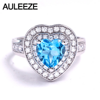 Романтичная, в форме сердца 1,5 карат кольцо с топазом Обручальное кольцо в 14 к 585 Белое золото Натуральный топаз Обручальное кольцо с драгоце