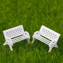 Artificial White Bench Chair Miniature Fairy Garden Home Houses Decoration Mini Craft Micro Landscaping Decor DIY Accessories