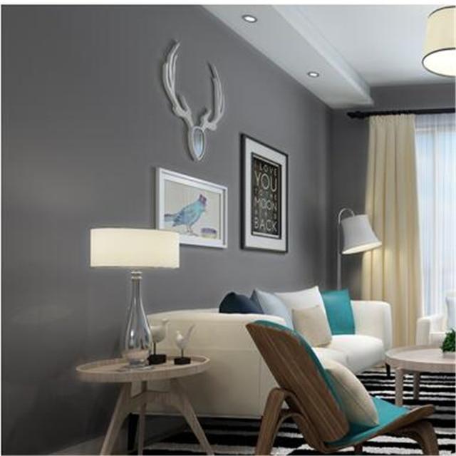 Beibehang élégant Pur Couleur Plaine Gris Vert Bleu Papier Peint Salon  Chambre à Coucher Complète De