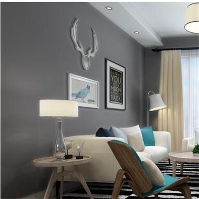 Beibehang stijlvolle pure kleur plain grijs groen blauw behang ...