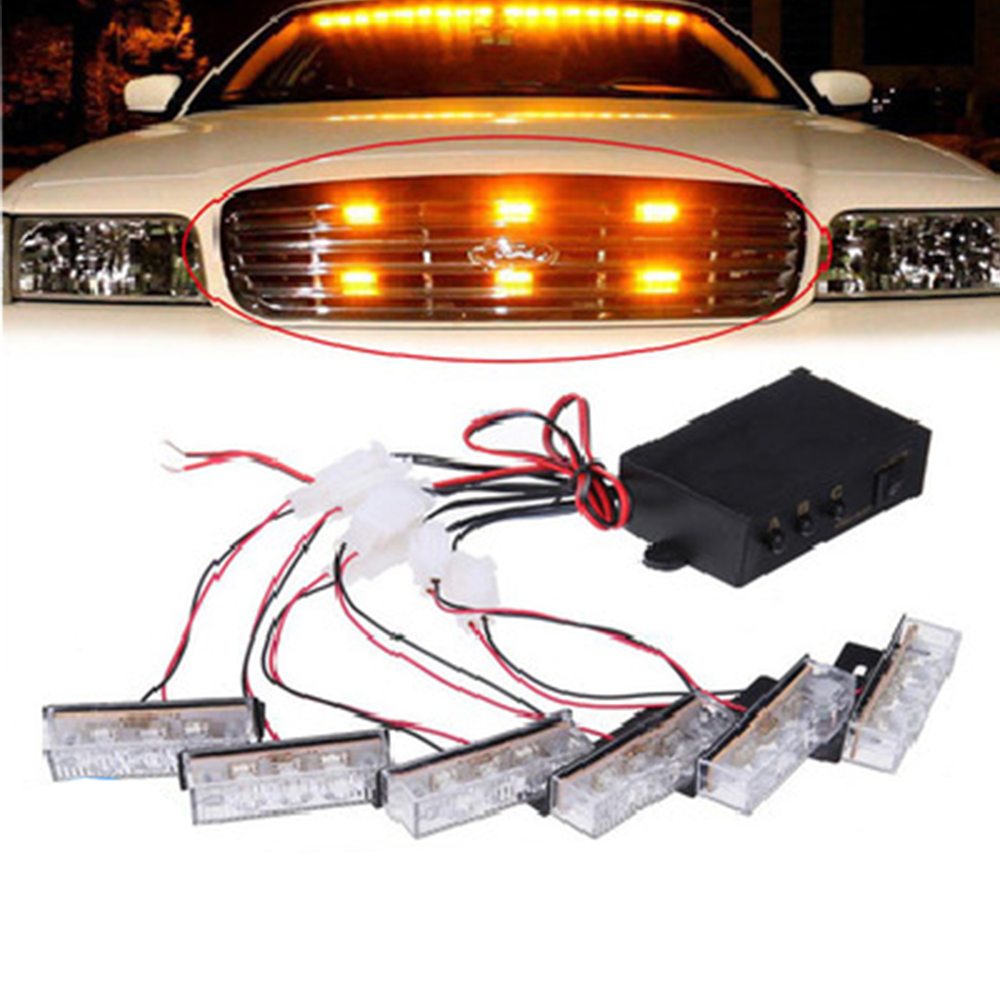 Style Car 12V 3X6LED 18LED Red Stroboscopic Light with 3 Mode Controller car flash light emergency warning light car auto Amber police style car 12v 12 led red blue stroboscopic light with 3 mode controller
