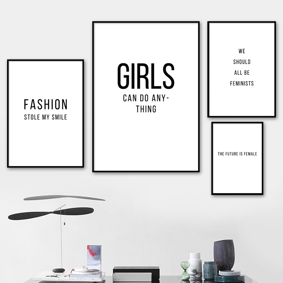 Wall Art Canvas Paintings Black White Poster Feminism Girl Fashion Salon Pictures Prints Home Decor For Living Room Modular Painting Calligraphy Aliexpress