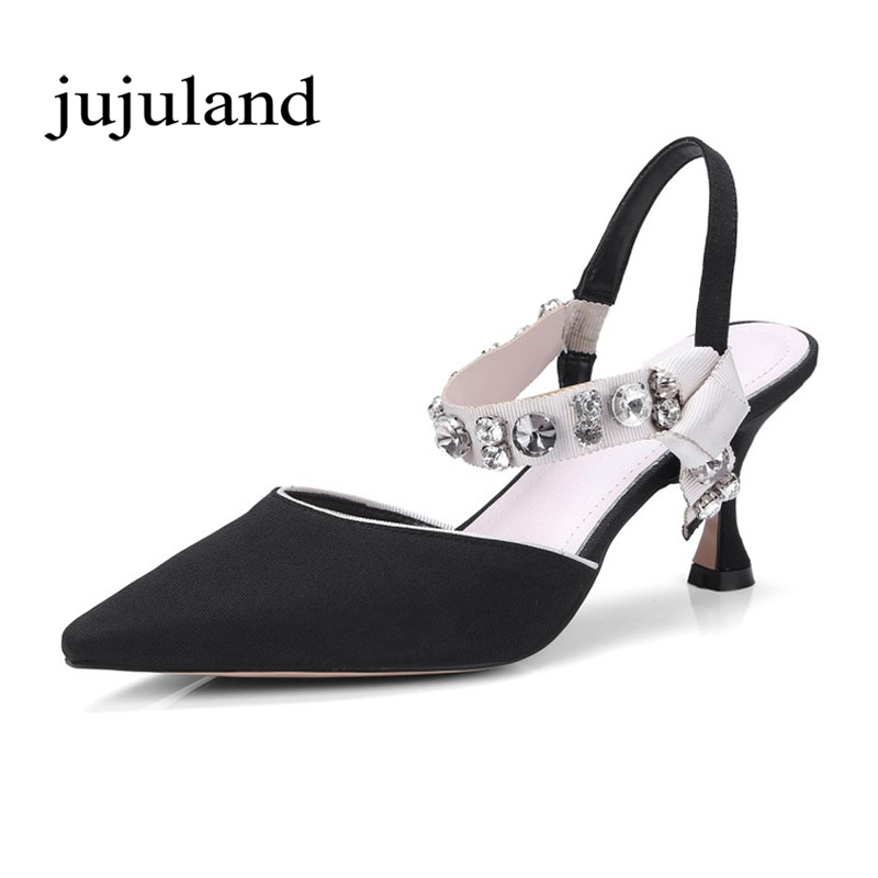 Spring/Autumn Women Pumps Shoes Crystal Silk Genuine Leather High Thin Heels Pointed Toe Fashion Casual Shallow Elastic band 2017 free shipping siketu spring and autumn women shoes fashion high heels shoes wedding shoes pumps g174 summer sandals