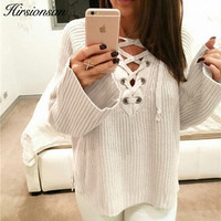 Hirsionsan Sweater Women 2017 Autumn Winter Flare Sleeve Knitted Pullovers Sexy V Neck Lace Up Jumpers