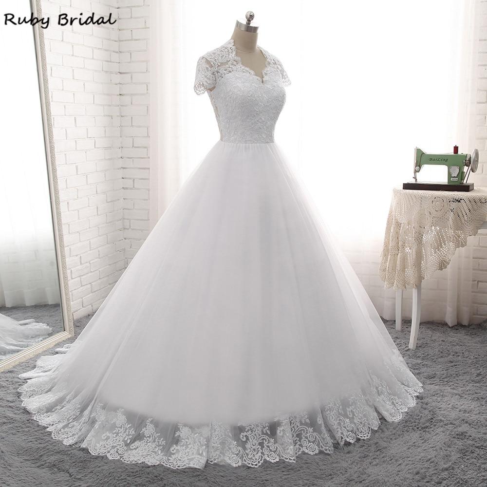 Ruby Bridal 2017 Elegant Vestido De Noiva Long A line Wedding Dresses Cheap White Tulle Appliques Short Sleeves Bridal Gown PW7-in Wedding Dresses from Weddings & Events    3