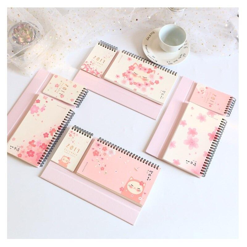 2019 nette Katze Kirschblüten Kalender DIY Schreibtisch Kalender Memo Pad Täglichen Zeitplan Planer 2018,09 ~ 2019,12