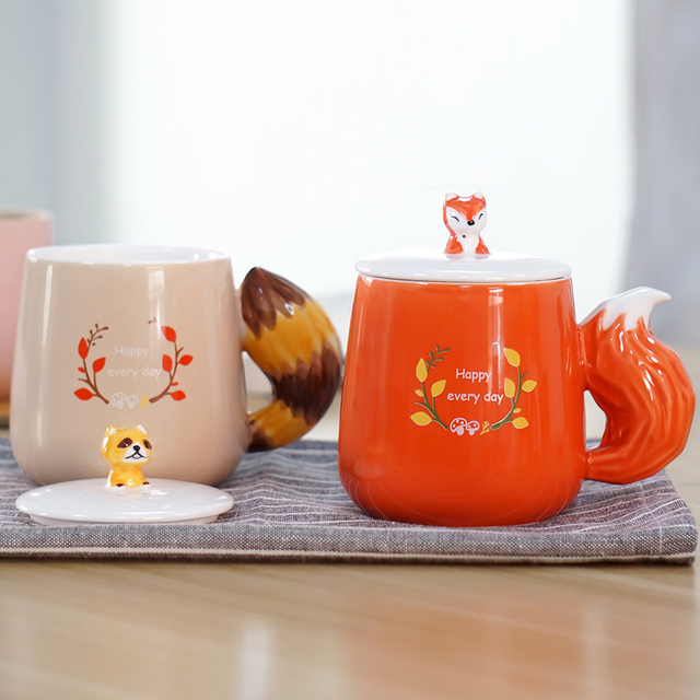 New 3D Handmade Cute Animal Funny Coffee Ceramic Tea Mug Cup With Tail handle Designer Printed Porcelain With Lid holder Gift