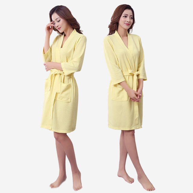 Men and women comfortable waffle fabric pajamas sleep gown home casual models women's nightwear home service YF118