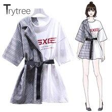 Trytree Летнее Платье асимметричное женское клетчатое лоскутное платье-футболка с О-образным вырезом и поясом длиной выше колена свободное Черное и белое Повседневное платье