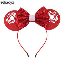 1PC New Valentine Minnie Mouse Ears Headbands 5''Sequin Bow Hairband For Girls Kids Party Headband Hair Accessories 1pc new valentine minnie mouse ears headbands 5 sequin bow hairband for girls kids party headband hair accessories