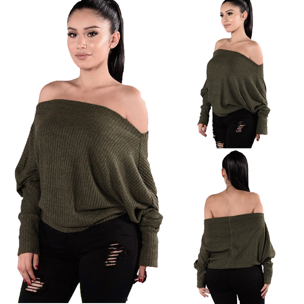 Women Loose Knitted Strapless Stripe Sweater O-Neck Casual Tops